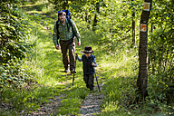 Germany, Rhineland-Palatinate, Moselsteig, father and his little son hiking - PA000708