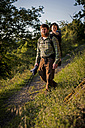 Germany, Rhineland-Palatinate, Moselsteig, father and his little son hiking - PA000688