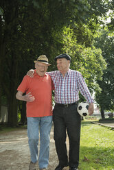 Two old friends walking in the park with football - UUF000711