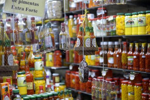 South America, Brazil, Belo Horizonte, Market stall, Pickled chili - FLK000280