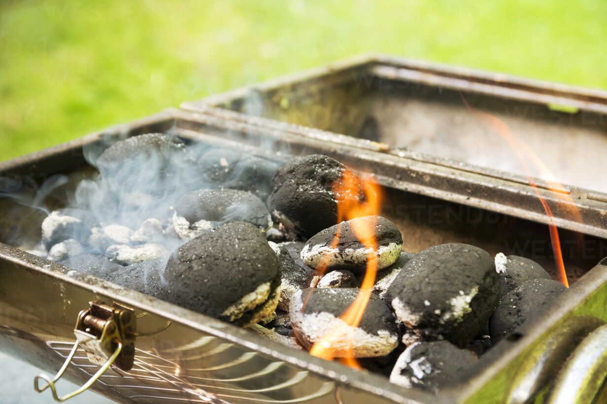 Burning coal briquets on grill in garden - ONF000590 - noonland/Westend61