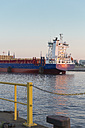 Germany, Hamburg, container ship on River Elbe - MS003988