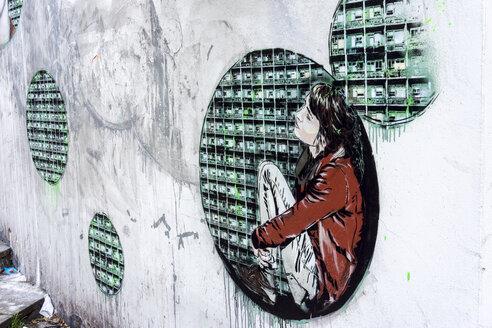 England, London, Shoreditch, New Inn Yard, graffiti of the artists Jana and JS - WE000117