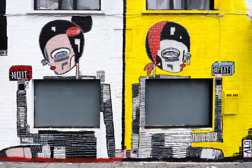 England, London, Shoreditch, Great Eastern Street, graffito wall painting of artist Alo, partial view - WE000121