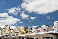 Australia, New South Wales, Murwillumbah, art deco buildings with shop signs in town - SH001346