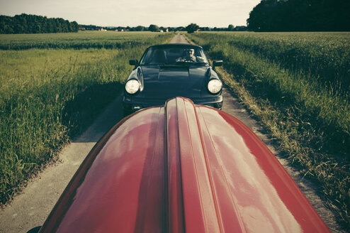Germany, North Rhine-Westphalia, Minden, Oldtimer Porsche, Old tractor - HOHF000863