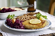 Tempeh schnitzel with red cabbage and wheat spaetzle - HAWF000274