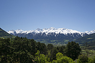 Italy, South Tyrol, Mals, Tartscher Buehel, View to Ortler Alps - MYF000326