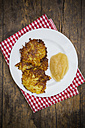 Potato fritters with apple sauce on plate - LVF001403