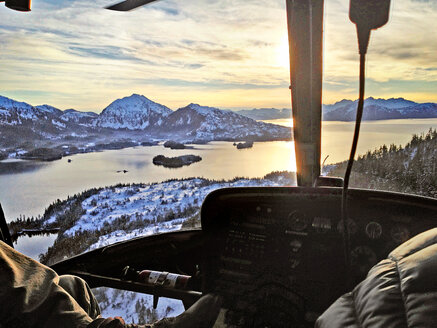 Aerial view of a snow landscape from the Helokopter, Alaska, USA - BMA000013