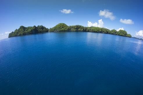 Micronesia, Palau, fisheye view of tropical island - JWAF000078