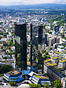 Germany, Hesse, Frankfurt, view to buildings of Deutsche Bank and city from above - AMF002394