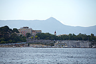 Greece, Ionic Islands, Corfu, view to Corfu town in front of the mountain Pankreator - AJF000063