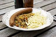 Lentils with Swabian pasta, Spaetzle and a vegan sausage - HAWF000287