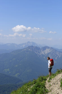 Germany, Bavaria, Upper Bavaria, Mangfall Mountains, Spitzingsee area, Hiker - LB000758