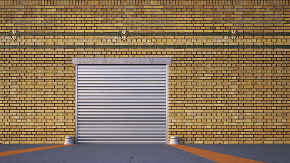 Roller shutter and brick slip cladding of an old factory, 3D Rendering - UWF000109