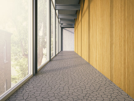 Hallway with window and wooden wall of a modern building, 3D Rendering - UWF000112