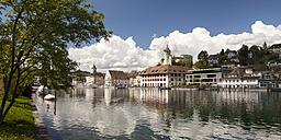 Switzerland, Canton of Schaffhausen, View of Schaffhausen with Munot Castle, High Rhine river - WIF000782