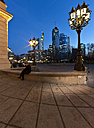 Germany, Hesse, Frankfurt, Old Opera, Financial district in the background, Blue hour - AMF002384