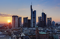 Germany, Hesse, Frankfurt, City view with financal district in the evening - AMF002388