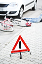 Warning triangle in front of crash scene - MAEF008505