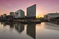 Germany, Hamburg, High-rise office building Ericusspitze, Publishing house Der Spiegel at sunset - RJF000197