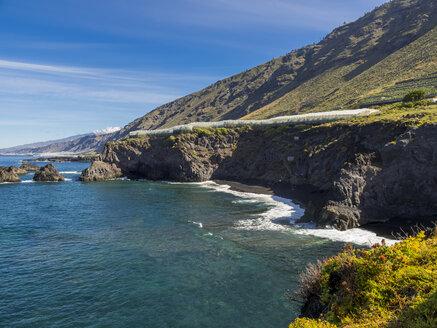 Spain, Canary Islands, La Palma, Cliff coast with banana plantation - AMF002416