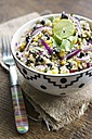 Mayan couscous salad with couscous, black beans, corn, cilantro, red onion, jalapeno - HAWF000312