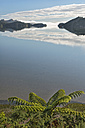 New Zealand, Golden Bay, Whanganui Inlet, islands and mountains reflecting in the water near Westhaven - SHF001490