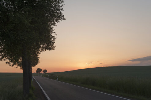 Germany, Saxony, Mulden Valley, Empty road at sunset - MJF001285