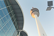 Germany, Hamburg, view to television tower and trade fair building from below - MSF004056