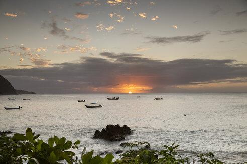 Caribbean, Trinidad and Tobago, Tobago, Castara, sunset over the ocean - SKF001587