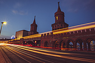 Germany, Berlin, Friedrichshain-Kreuzberg, Oberbaum Bridge, Light Trail - ZMF000314