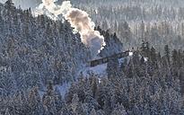 Germany, Saxony-Anhalt, Harz National Park, Brocken, Harz Narrow Gauge Railway in winter - PVC000019