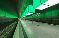 Germany, Hamburg, subway station HafenCity University with underground train - RJ000203