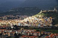 Italy, Sardinia, Province of Oristano, Bosa, City view with Castle Ruin Castello Malaspina - MBEF001040