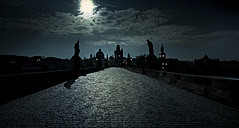 Czech Republic, Prague, Charles Bridge in back light - AMF002513