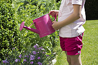 Little girl pouring plants with pink watering can in the garden, partial view - YFF000187