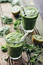 Green vegetable and fruit smoothie with spinach, salad, parsley, cress, oregano and kiwi - IPF000146