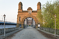 Germany, Hamburg, Harburg, Old Harburg Elbe bridge at sunrise - RJF000204