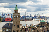 Germany, Hamburg, View to St. Pauli Landing Stages and harbour - RJF000207