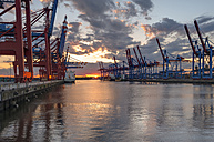 Germany, Hamburg, Port of Hamburg, Container Terminal Burchardkai at sunset - RJ000210