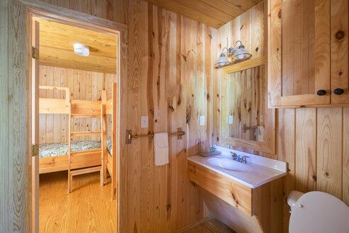USA, Texas, Log Home Interior - ABAF001421