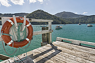 New Zealand, South Island, Marlborough Sounds, Tennyson Inlet, lifesaver on a wooden jetty - SHF001540