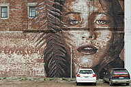 New Zealand, South Island, Christchurch, mural of a female model on a brick wall - SH001570