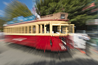New Zealand, South Island, Christchurch, historic tram in motion - SH001555
