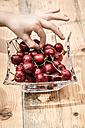 Germany, Bavaria, Child's hand taking a cherry - SARF000703