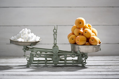 Apricots and sugar cubes on a scale - MAEF008588