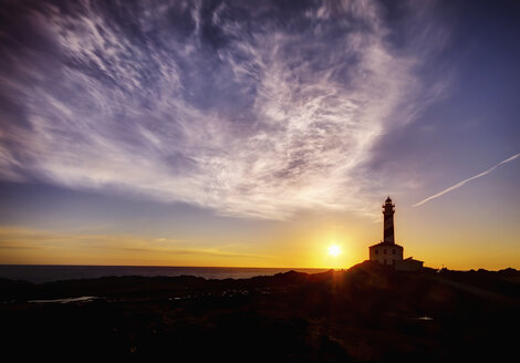 Spain, Balearic Islands, Menorca, Cap de Cavalleria, lighthouse at sunrise - SMAF000218