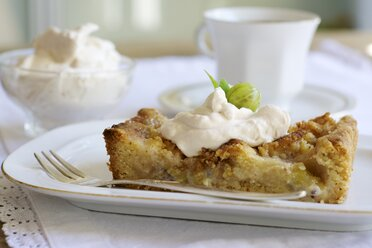 Piece of gooseberry almond tart with cream on plate - HAWF000374